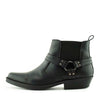 Nash Leather Ankle Cowboy Ring Boots - Black-S