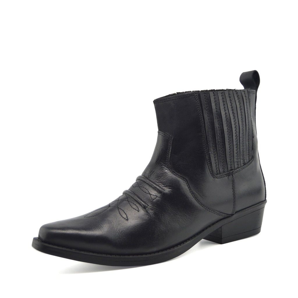 Jax Leather Western Cowboy Cuban Heel Boot - Black