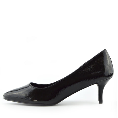 Smart Low Pointed Kitten Heels - Black Patent
