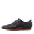 Mens Smart Real Leather Upper Casual Black Formal Lace Up Shoes - Black-Red
