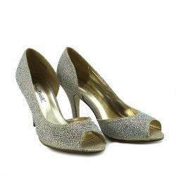 Minnie Sparkle Peep Toe Kitten Heels - Gold