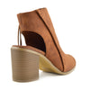 Ivy Block Heel Closed Toe Mule Ankle Boots - Tan