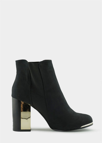Alba Soft Metallic Heel Boots - Black