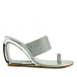 Grace Metallic Toe Sparkle Sandals - Silver