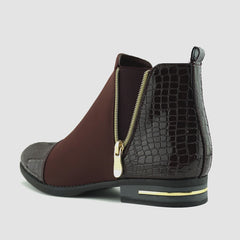 Riley Croc Smart Patent Chelsea Boots - Burgundy
