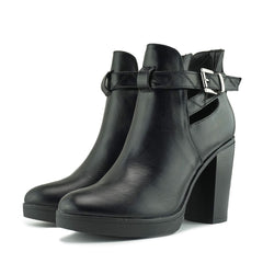 Dakota Cut Out Chunky Ankle Boot - Black