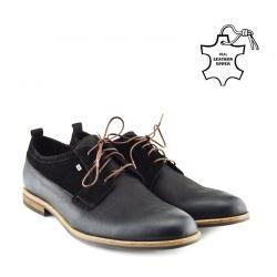 Giatoma Niccoli Suede Trim Derby Shoes - Black