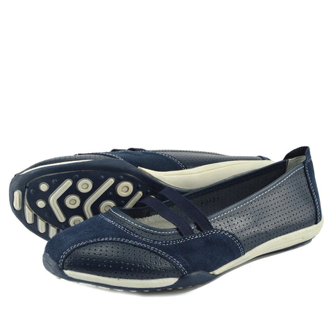 Ballerina Dolly Pumps Comfort Sole Flat Shoes - Navy