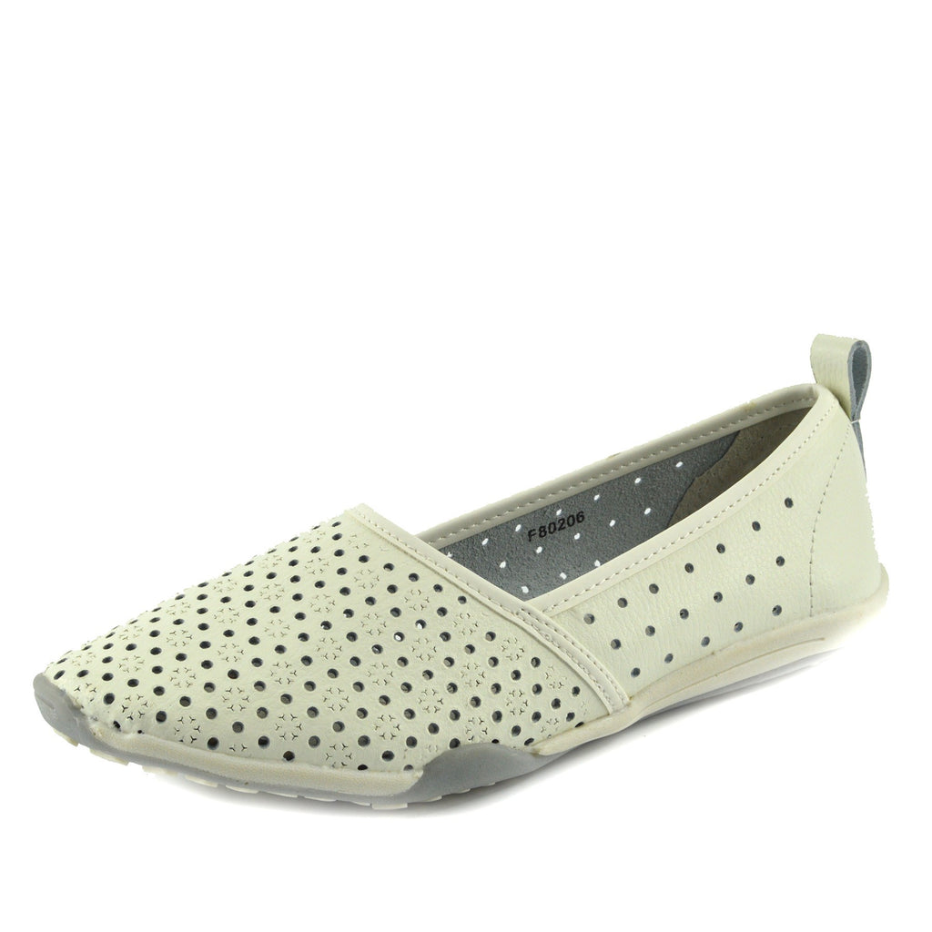 Ballerina Dolly Pumps Comfort Sole Flat Shoes - White F80206