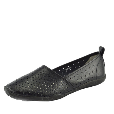 Ballerina Dolly Pumps Comfort Sole Flat Shoes - Black