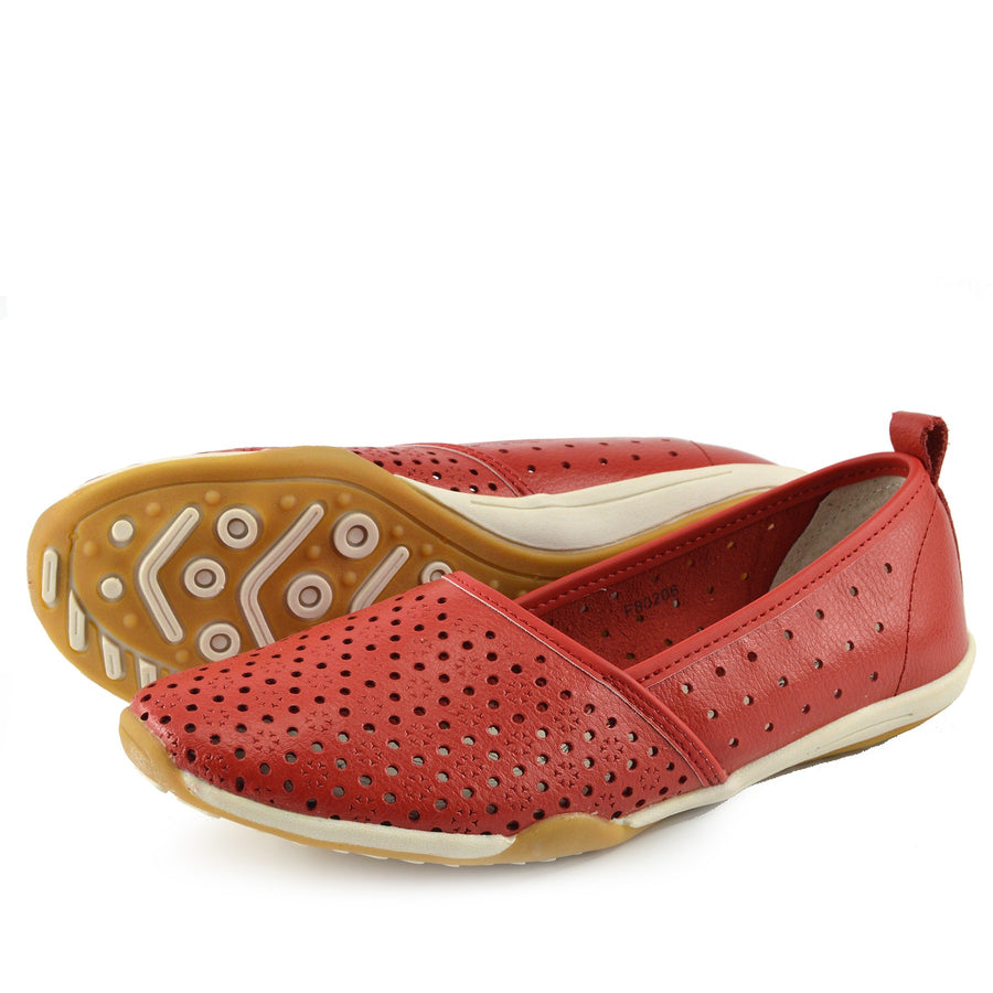Ballerina Dolly Pumps Comfort Sole Flat Shoes - Red F80206