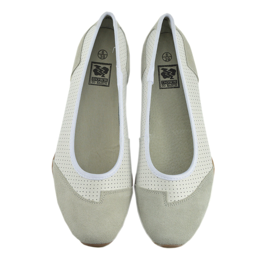 Ballerina Dolly Pumps Comfort Sole Flat Shoes - White F80261