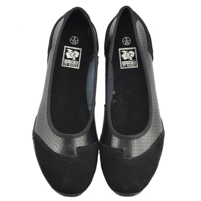 Womens Ballerina Ballet Dolly Pumps Ladies Flat Black Loafers Shoes Size New - Black F80261