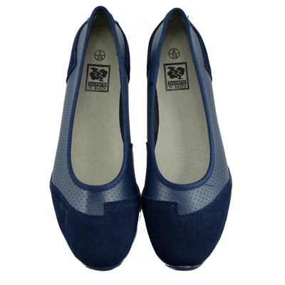 Womens Ballerina Ballet Dolly Pumps Ladies Flat Black Loafers Shoes Size New - Navy F80261