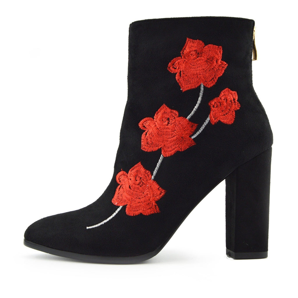 Ladies Floral Print Block Heel Boots - Black-Red