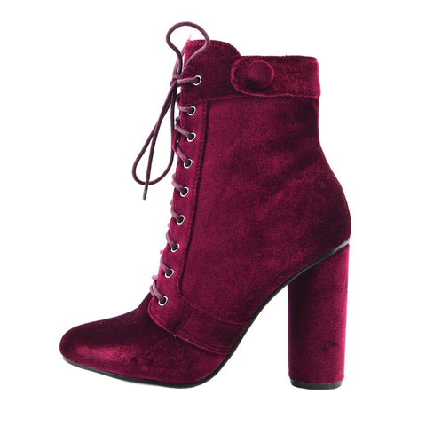 Vida Celeb Lace up Block Heel Ankle Boots - Burgundy