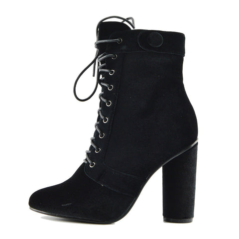 Vida Celeb Lace up Block Heel Ankle Boots - Black