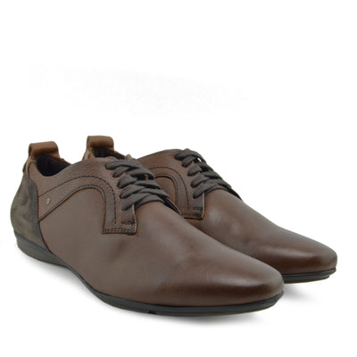Vale leather Smart lace Up Trainer Shoes - Tan