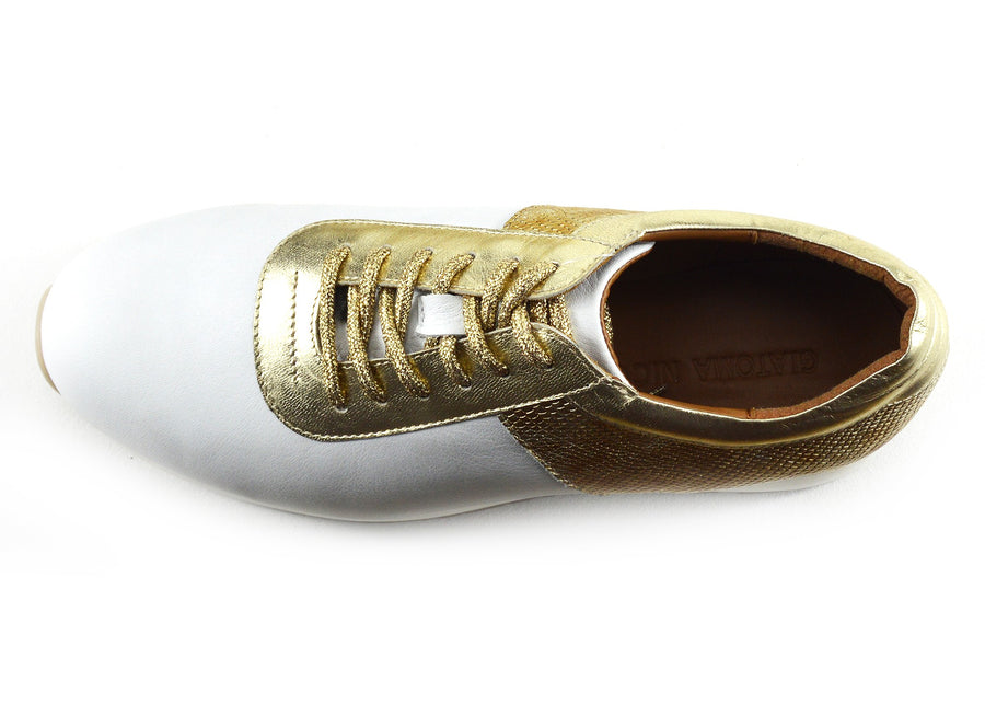 Womens Metallic Gold Lace Up Sport Shoes Leather Casual Sneakers - White