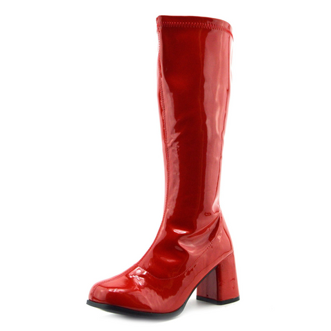 Betty Block Heel Retro Boots - Red