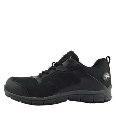 Groundwork Mens Lightweight Steel Toe Safety Trainers - Black-Grey