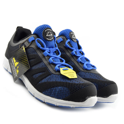Groundwork Mens Lightweight Steel Toe Safety Trainers - Black-Blue