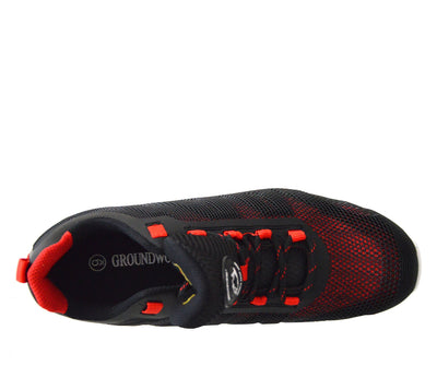 Groundwork Mens Lightweight Steel Toe Safety Trainers - Black-Red
