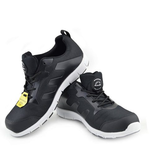 Groundwork Mens Lightweight Steel Toe Safety Trainers - Black-White