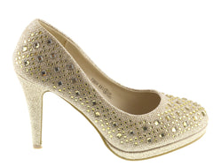 Evie Sparkle Detail Court Shoes - Gold