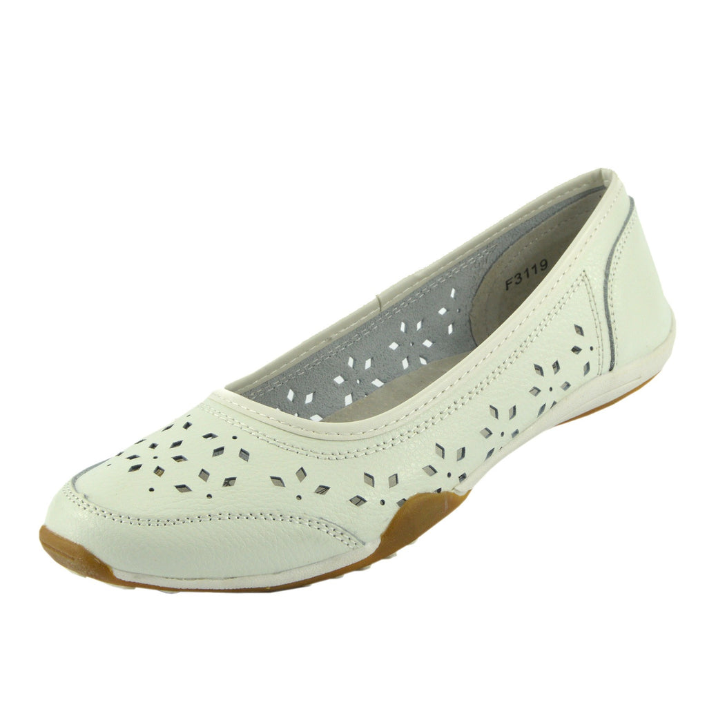 Leather Flat Casual Comfort Pumps - White F3119