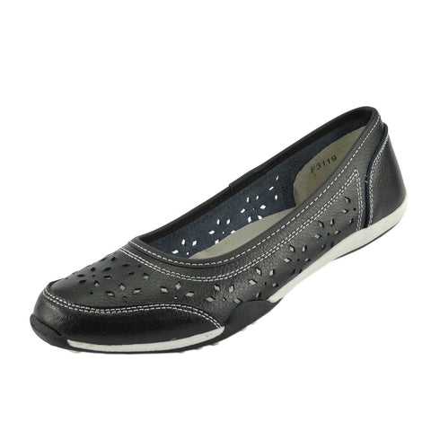 Leather Flat Casual Comfort Pumps -Black F3119