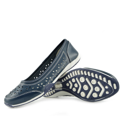 Leather Flat Casual Comfort Pumps -Navy F3119