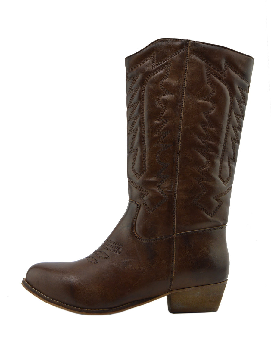 Belle Faux Leather Western Cowboy Boots - Brown