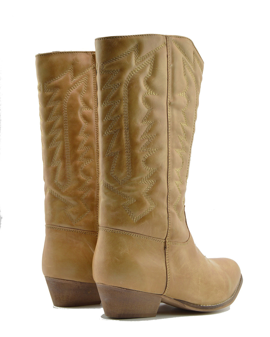 Ladies Faux Leather Western Cowboy Boots- Tan-SB