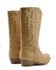 Belle Faux Leather Western Cowboy Boots - Tan