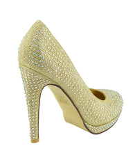 Liberty Diamante Gem Glitter Court Shoes - Gold