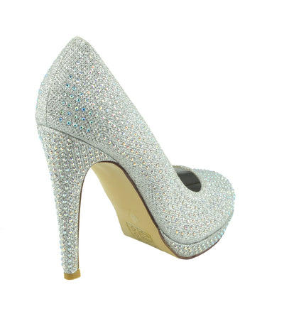 Liberty Diamante Gem Glitter Court Shoes - Silver