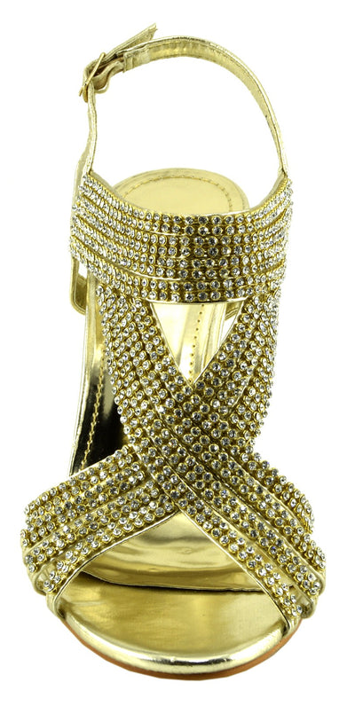 Broadway Strappy Diamante Sandals - Gold