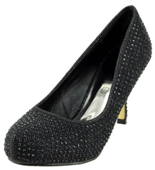 Chelsea Kitten Diamante Court Shoe - Black
