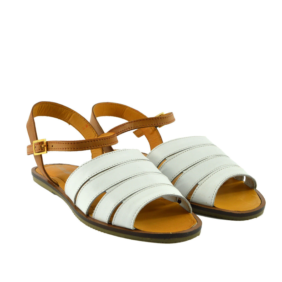Tilly Leather Menorcan Slingback Sandals - White