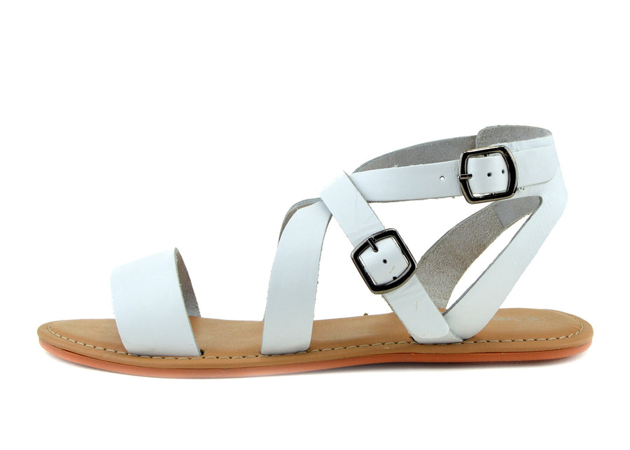 Selma Leather Buckle Strap Gladiator Sandals - White