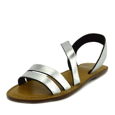 Selma Leather Elastic Strap Gladiator Sandals - Silver
