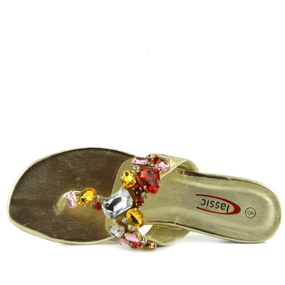 Ava Multi Gem Flat Sandal - Gold
