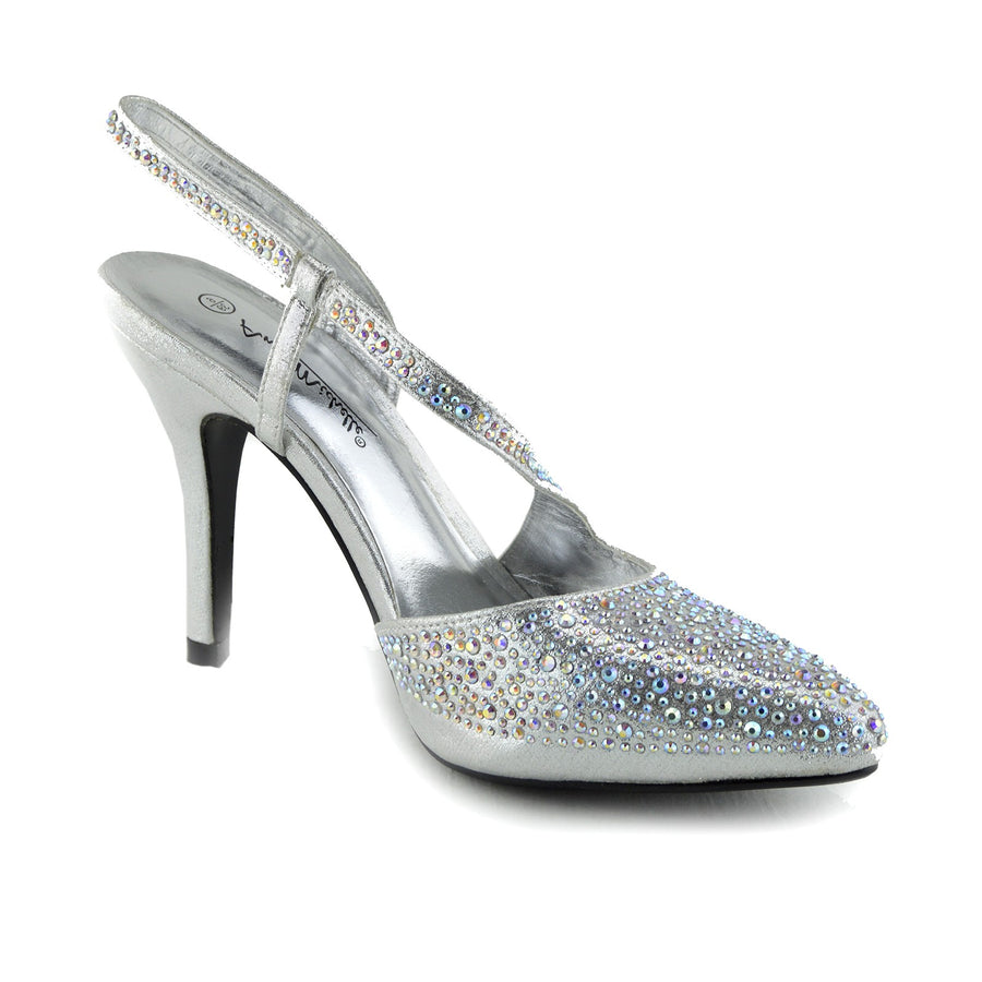 1f4018a346148 Ladies Gold Silver Wedding Sandals Slingback Shoes - Silver