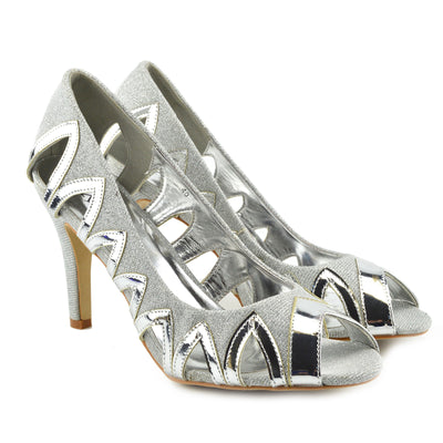 Ladies Heels Classic Party Looks Wedding Shoes - SILVER-MSM0425