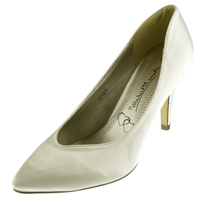 Ladies heels wedding  satin bridal shoes - Ivory court