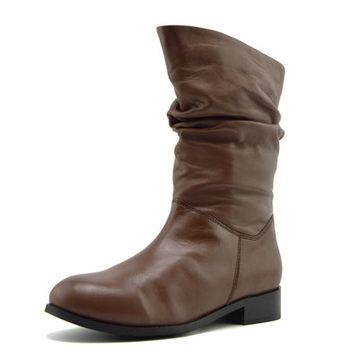 Women's  Real Leather Mid Calf Riding Flats Long Boots - Mid-calf Brown
