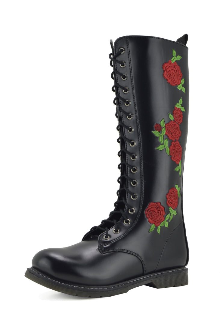 Lennox Long Leather Rose Boots