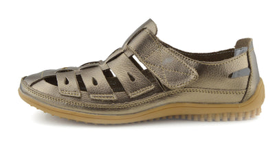 Sandford Easy Fasten Comfort Walking Strap Shoes - Bronze