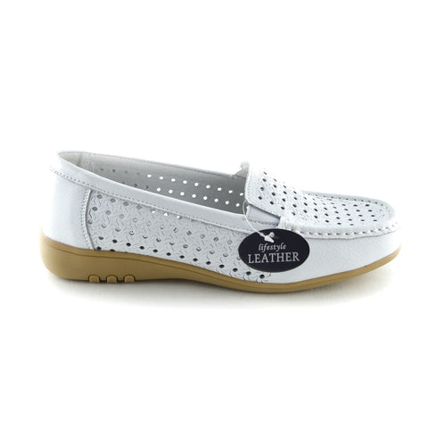 Gala Breathable Leather Comfort Sole Shoes - White